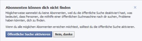 Facebook-Meldung: Abonnenten können Dich nicht finden