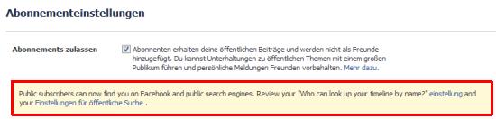 Facebook: Hinweis nach Freischaltung der Chronik für Suchmaschinen in der Abonnement-Verwaltung