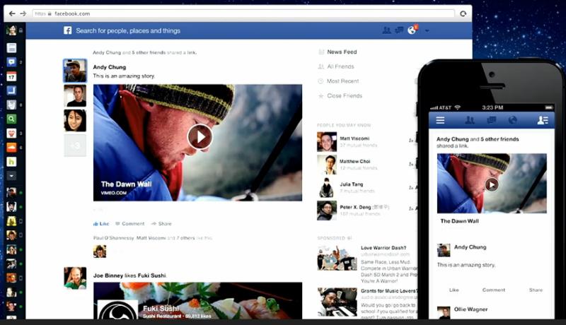 Neue Darstellung des Facebook Newsfeed