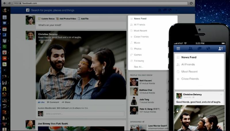 Auswahl für die neue Facebook Newsfeed Anzeige