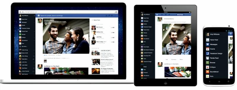 Identische Darstellung und Menüführung für den Facebook Newsfeed auf allen Geräten