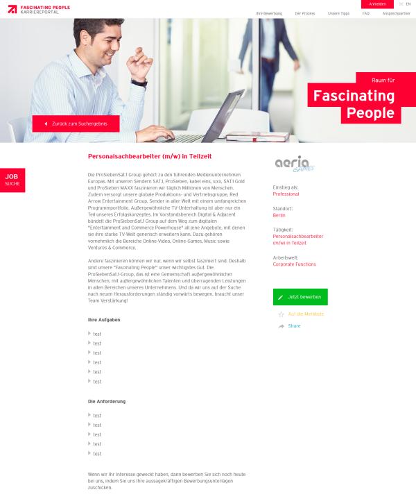 Stelleangebot Personalsachbearbeiter ProSiebenSat1 Group